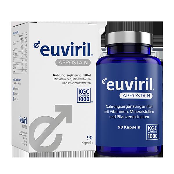 euviril aprosta - Nahrungsergänzungsmittel mit Vitaminen, Mineralstoffen und Pflanzenextrakten – alles Gute für die Prostata